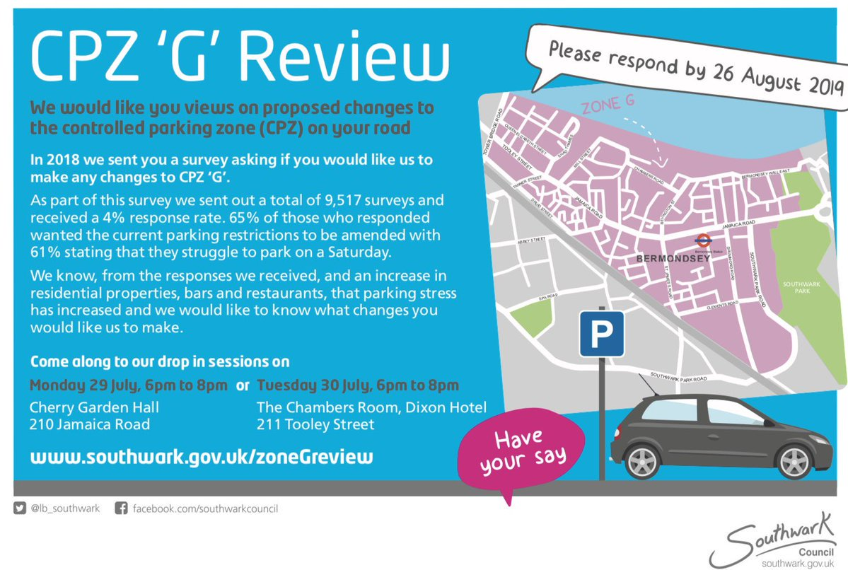 Parking in Bermondsey - CPZ 'G' Review Public Consultation